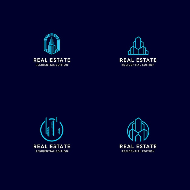 Immobilien monoline logo Premium Vektoren