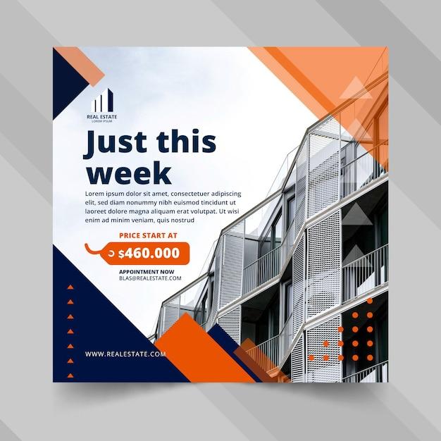 Immobilien quadratische flyer vorlage Kostenlosen Vektoren