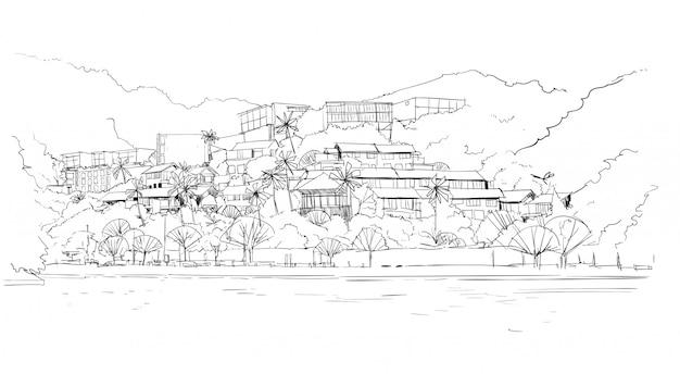 Immobilien-schattenbild-großes modernes landhaushaus im tropischen wald skecth Premium Vektoren