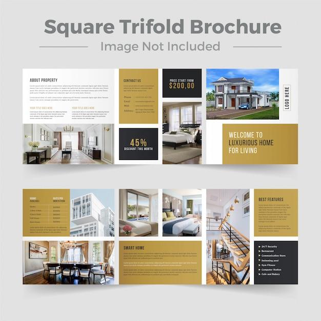 Immobilien square trifold brochure design Premium Vektoren