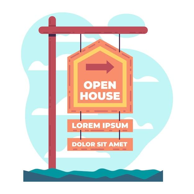 Immobilien tag der offenen tür zeichen konzept Kostenlosen Vektoren