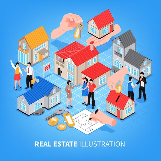 Immobilienagentur betrachtung von häusern zum verkauf und miete isometrische vektor-illustration Kostenlosen Vektoren