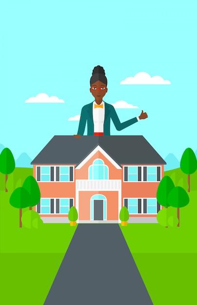 Immobilienagentur, die sich daumen zeigt. Premium Vektoren