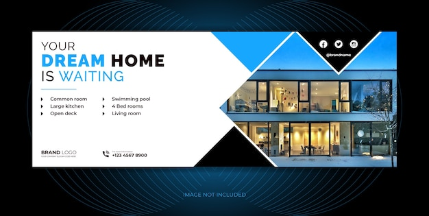 Immobilienagentur home sale social media cover, social media banner vorlage design. Premium Vektoren