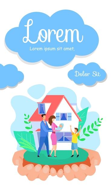 Immobiliengeschäft flat flyer, broschüre vorlage Premium Vektoren