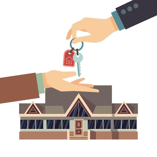 Immobiliengeschäftkonzept des hauses mit händen und hauptschlüssel verkaufen und kaufen. Premium Vektoren
