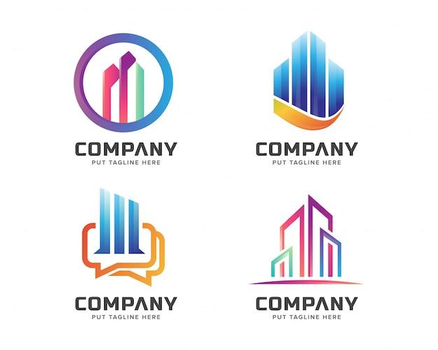 Immobiliengeschäfts-logo-schablonensatz Premium Vektoren