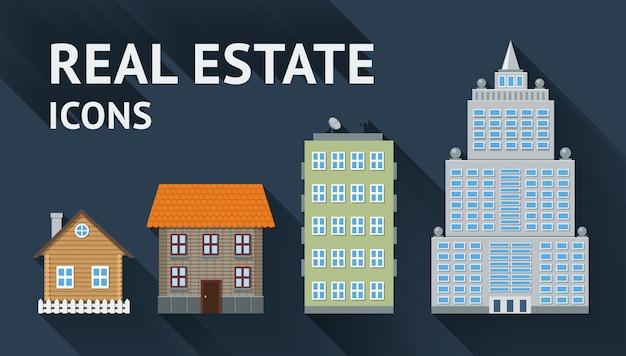 Immobilienikonen eingestellt Kostenlosen Vektoren