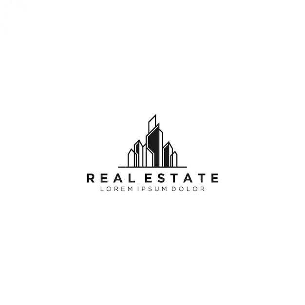 Immobilienlogo, modern und einfach Premium Vektoren