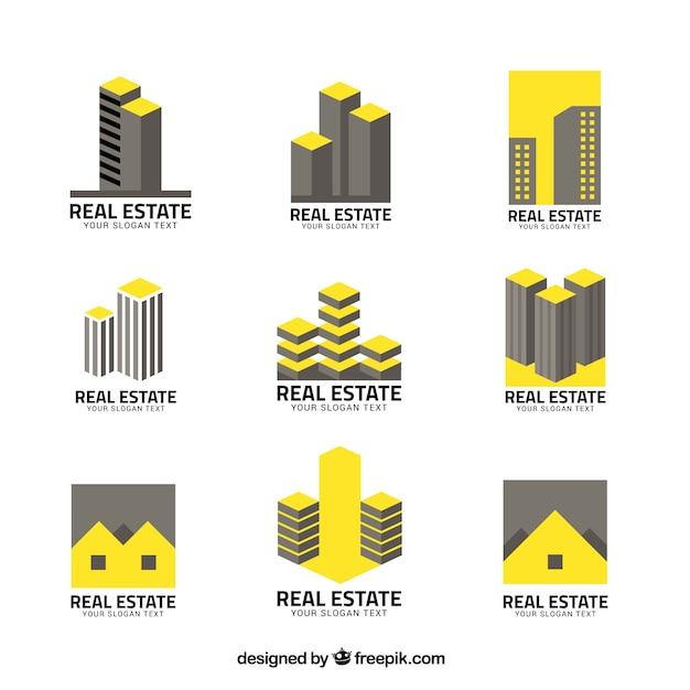 Immobilienlogos in grau und gelb Kostenlosen Vektoren