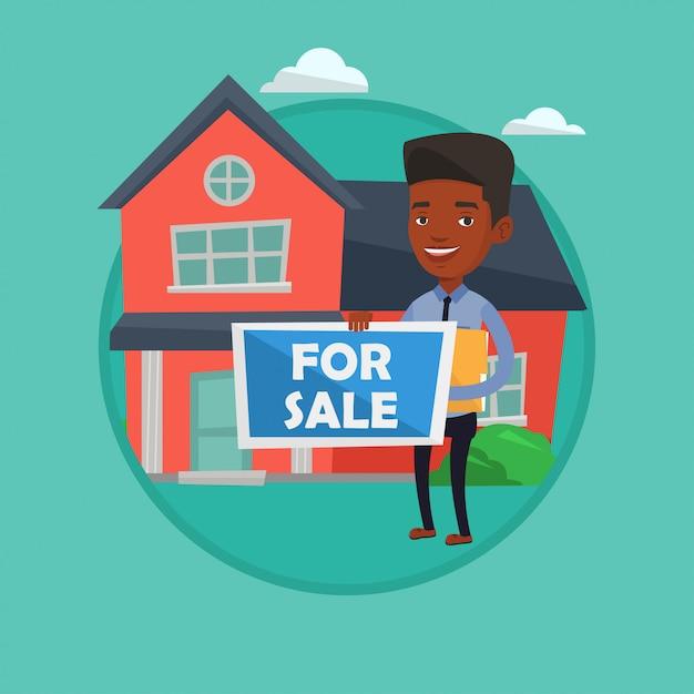 Immobilienmakler bietet haus. Premium Vektoren