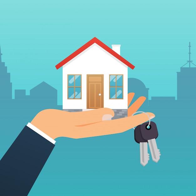 Immobilienmakler hält den schlüssel von zu hause aus. angebot des kaufhauses, vermietung von immobilien. modernes illustrationskonzept. Premium Vektoren