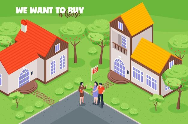 Immobilienmakler mit kundenkäufern beim betrachten der isometrischen vektorillustration des hauses zum verkauf Kostenlosen Vektoren