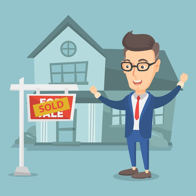 Immobilienmakler mit verkauftem plakat. Premium Vektoren