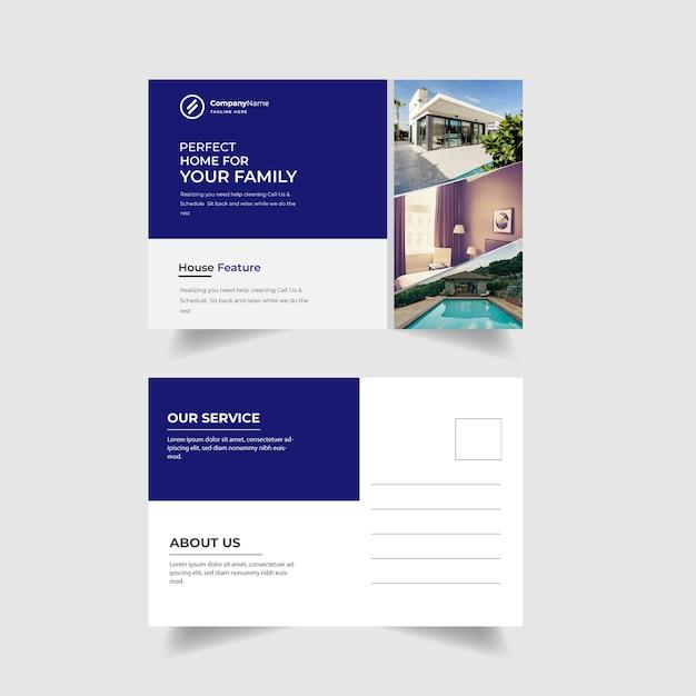 Immobilienpostkarten-schablonendesign Premium Vektoren