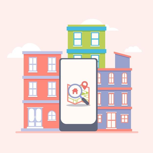 Immobiliensucheillustration mit smartphone und gebäuden Kostenlosen Vektoren