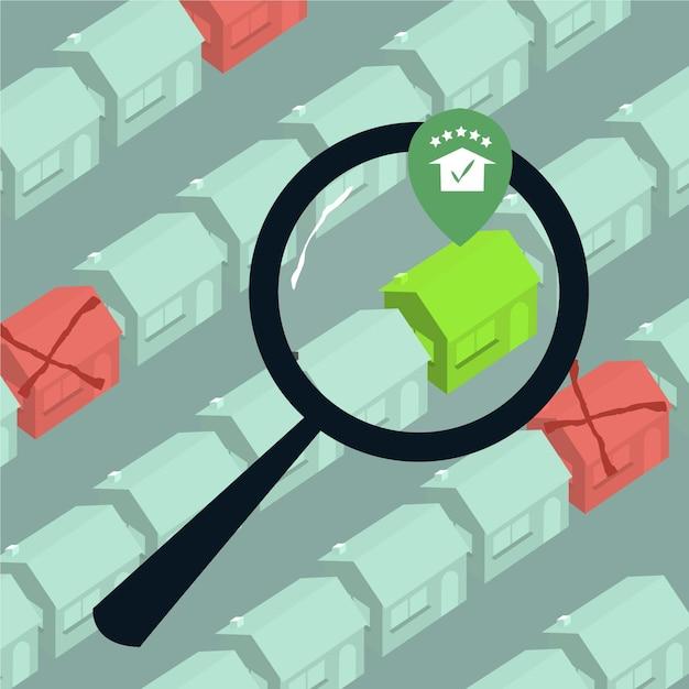 Immobiliensuchkonzept Premium Vektoren