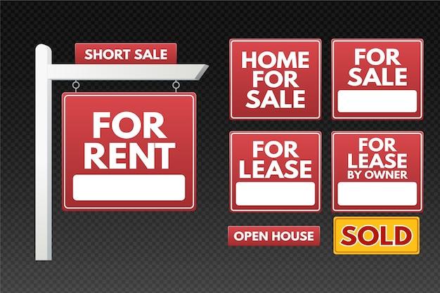 Immobilienverkauf zeichen sammlung Kostenlosen Vektoren