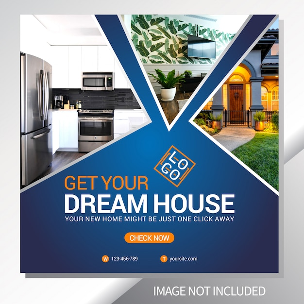 Immobilienverkaufs-netz-fahnen-schablone Premium Vektoren