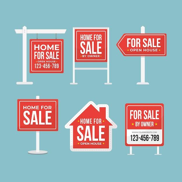 Immobilienverkaufsschilder gesetzt Kostenlosen Vektoren
