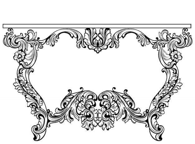 Imperial Barock Konsolentisch. Französisch Luxus Geschnitzte Ornamente  Dekoriert Tischmöbel. Vektor Viktorianischen Königlichen Stile Premium