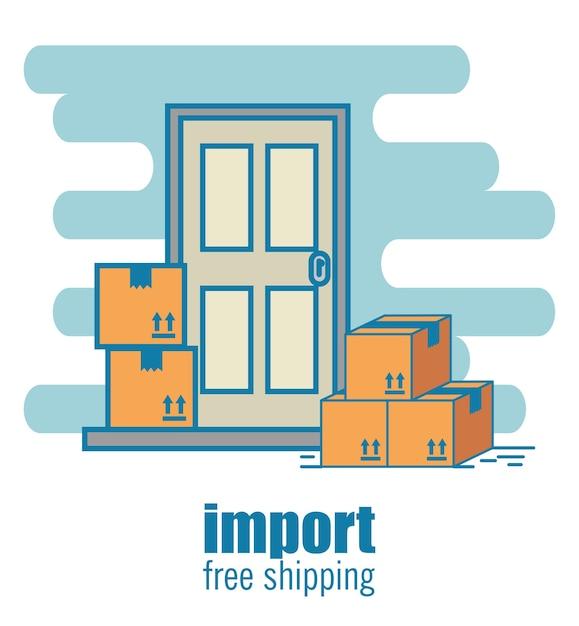 Importieren sie kostenlose versand-icons Premium Vektoren