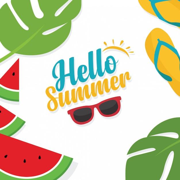 In den sommerferien sommerschlussverkaufhintergrundplan-fahnenschablone Premium Vektoren