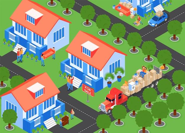 In der haus-stadt vereinbaren, illustration Kostenlosen Vektoren