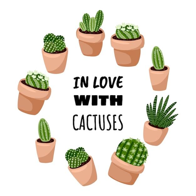 In der liebe mit kaktus-cartoonart niedlicher kranzverzierungsentwurf. set hygge eingemachte saftige anlagen. gemütliche lagom skandinavischen stil sammlung von pflanzen Premium Vektoren