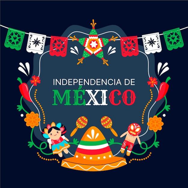 Independencia de méxico mit hut und girlande Premium Vektoren