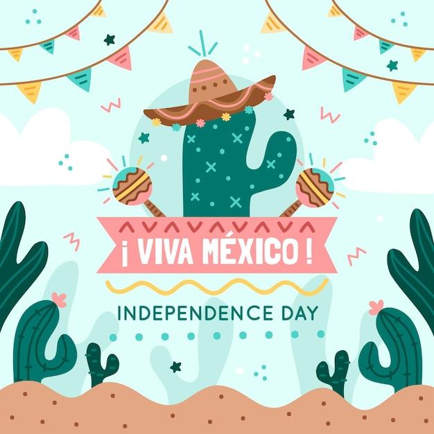 Independencia de méxico mit kakteen und girlanden Kostenlosen Vektoren