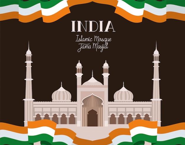 Inder jama masjid tempel mit markierungsfahne Kostenlosen Vektoren
