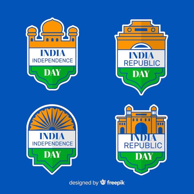 India independence day label-auflistung Kostenlosen Vektoren