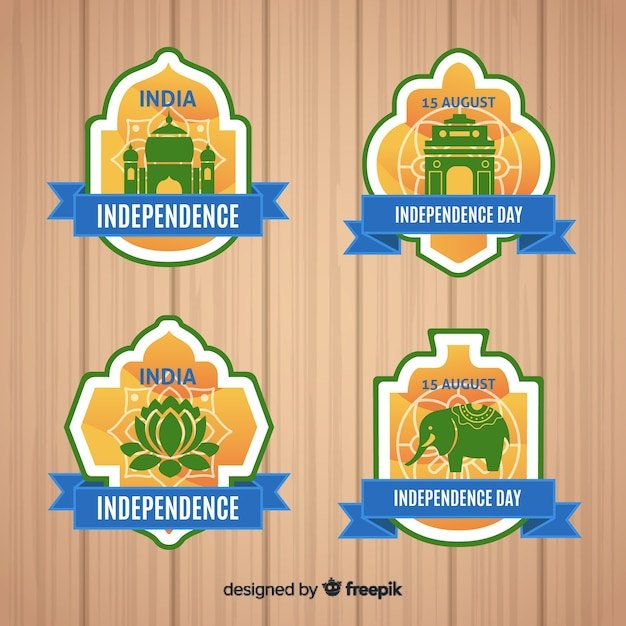 India independence day label-auflistung Kostenlosen Vektoren