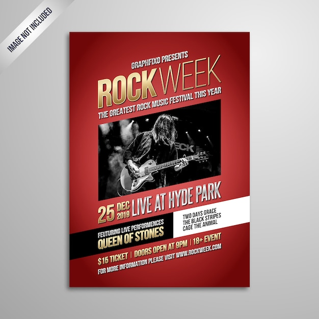 Indie rockmusik festival poster Premium Vektoren