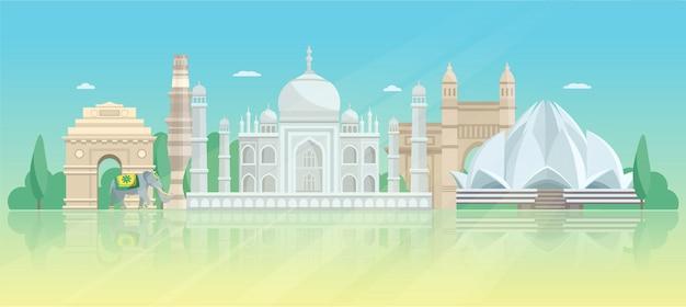 Indien architektonische skyline poster Kostenlosen Vektoren