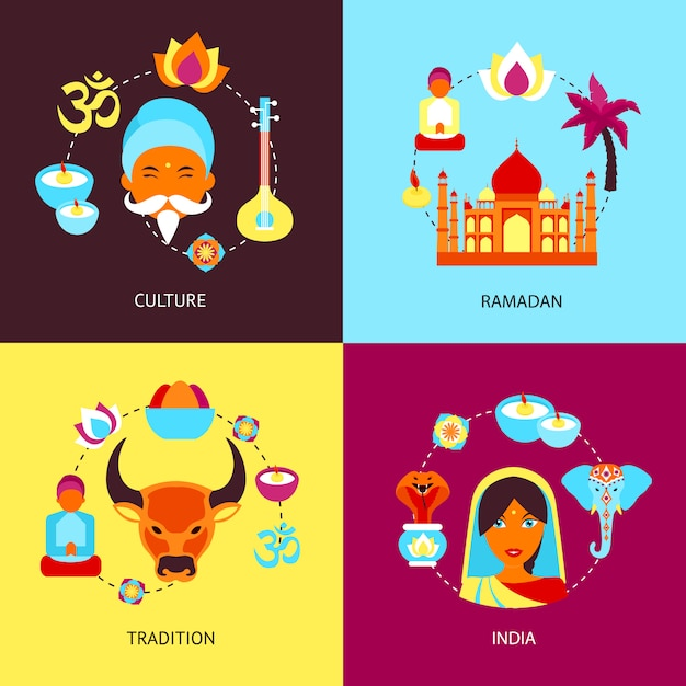 Indien flach gesetzt Premium Vektoren