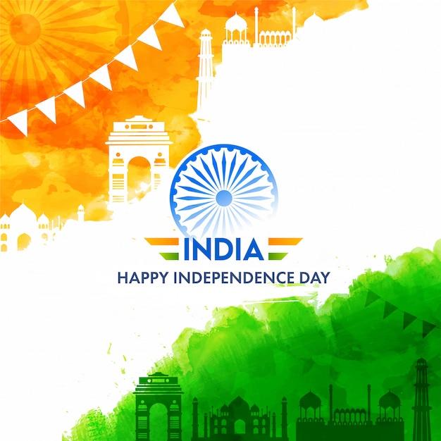 Indien happy independence day text mit ashoka wheel, safran und grünem aquarelleffekt berühmte denkmäler auf weißem hintergrund. Premium Vektoren