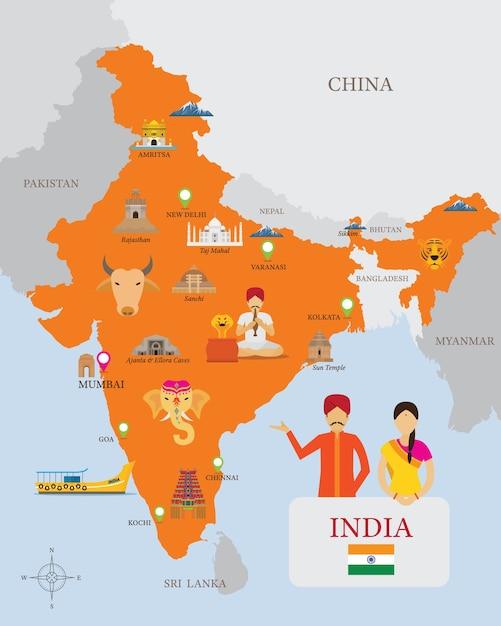 Indien karte und ikonen mit menschen in traditioneller kleidung Premium Vektoren