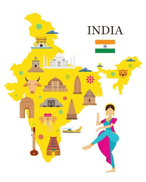 Indien karte und sehenswürdigkeiten mit menschen in traditioneller kleidung Premium Vektoren