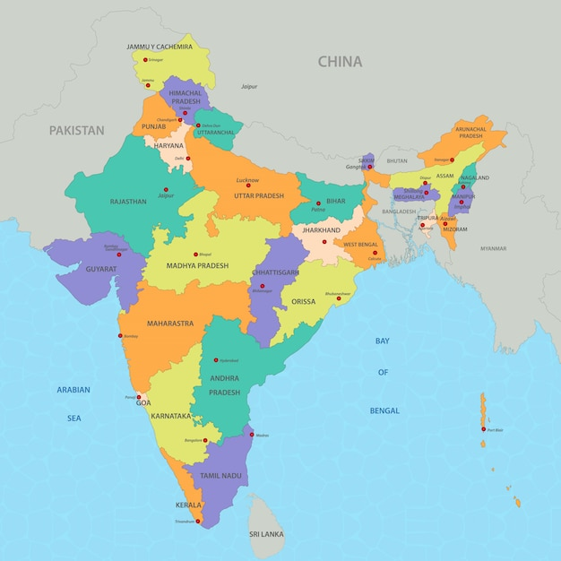 Indien Karte Premium Vektor