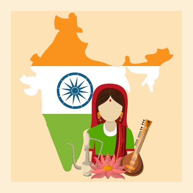 Indien kultur und reisen Premium Vektoren