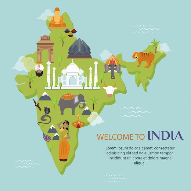 Indien-marksteinreisekarten-vektorillustration Premium Vektoren