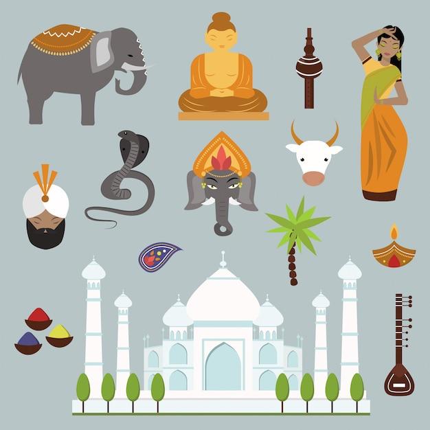 Indien-marksteinreisevektor-elementsammlung Premium Vektoren