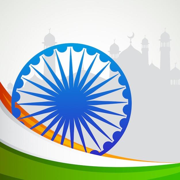 Indien patrioc flagge und rad emblem karte Premium Vektoren