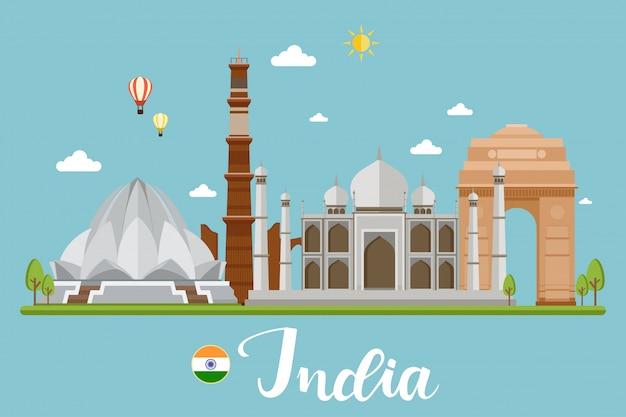 Indien-reise-landschaftsvektor-illustration Premium Vektoren