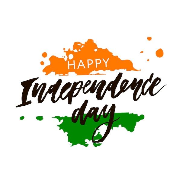 Indien-unabhängigkeitstag am 15. august, der kalligraphie-illustration beschriftet Premium Vektoren