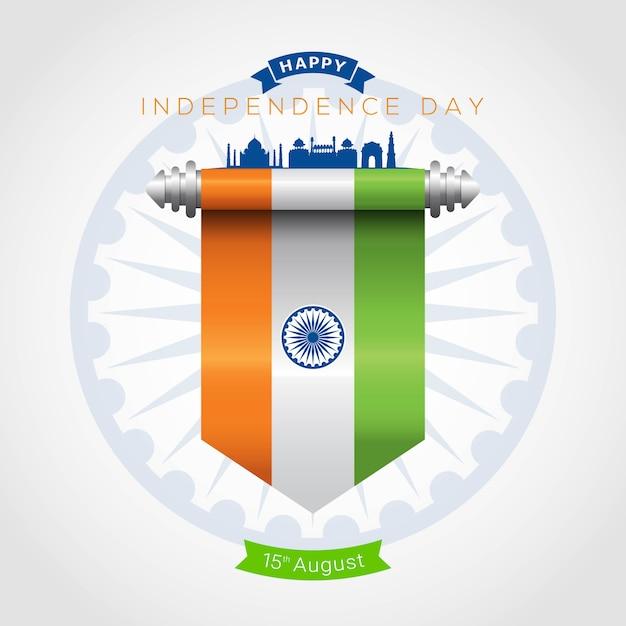 Indien unabhängigkeitstag grußkarte Premium Vektoren