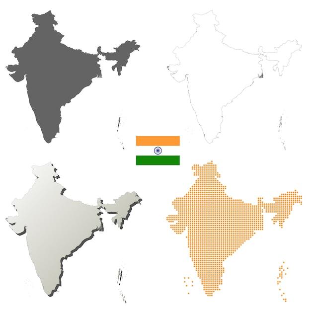 Indien-vektorumreißkartensatz Premium Vektoren