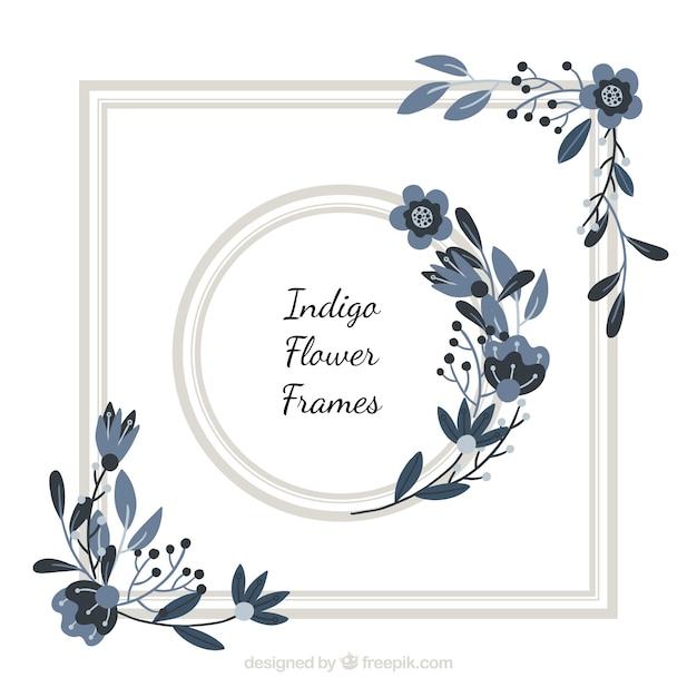 Indigo floral frame Kostenlosen Vektoren